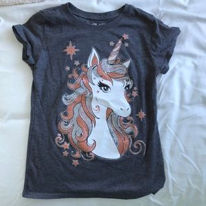 Girls 5/6 T-shirt unicorn with sparkle
